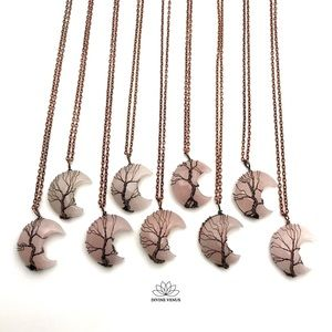 Rose Quartz - Wire Wrapped Moon Shaped Red Copper